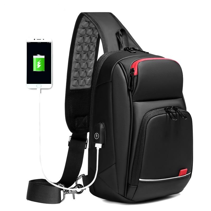 "9.7"" iPad Crossbody Shoulder Bag for Men Water Repellent USB Charging Chest Packs"