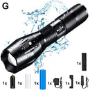 T6 LED Handheld Tactical Flashlight Zoom Torch Light Camping Lamp for 18650 Rechargeable Battery AAA