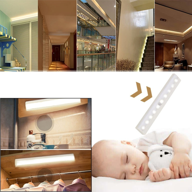 10 LED Wireless  Motion Sensor Light Use 4*AAA