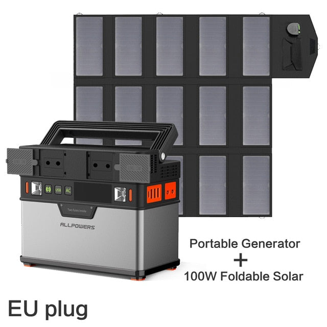 Portable Power Station 372 Wh Lithium Battery Solar Generator with Solar Panel 100 W Backup Supply 110 V 220 V AC Outlet.