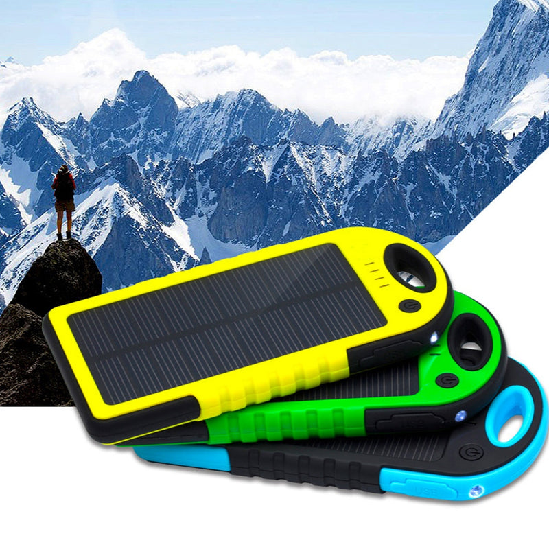 Centechia New Waterproof Solar Power Bank Real 5000 mAh Dual USB External Port Polymer Battery Charger with Outdoor Light Lamp