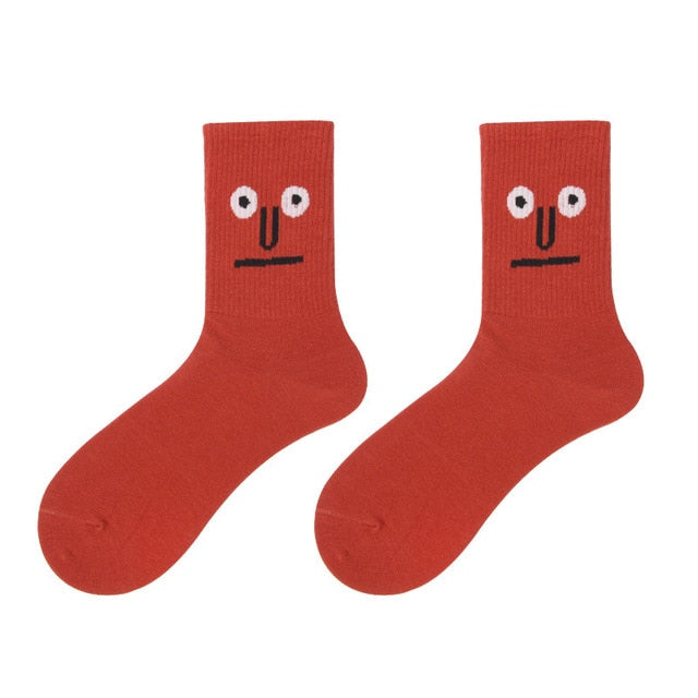 Women 2020 funny face socks cotton