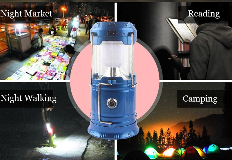 Rechargeable Solar Camping Light Collapsible for outdoor