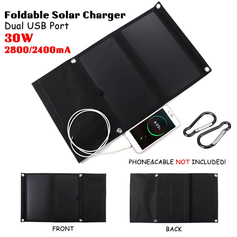 Sunpower 30W 5V Foldable Solar Panel Charger Solar Power Bank Dual USB