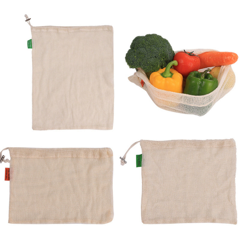 3 Size Cotton Vegetable Bags  Fruit Vegetable With Drawstring Reusable Home Kitchen Storage Mesh Bag Eco Friendly Product