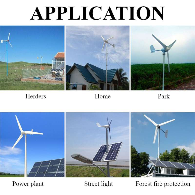 6000W 12/24/48V Wind Power Turbines Generator 3/5 Wind Blades Option With Charge Controller