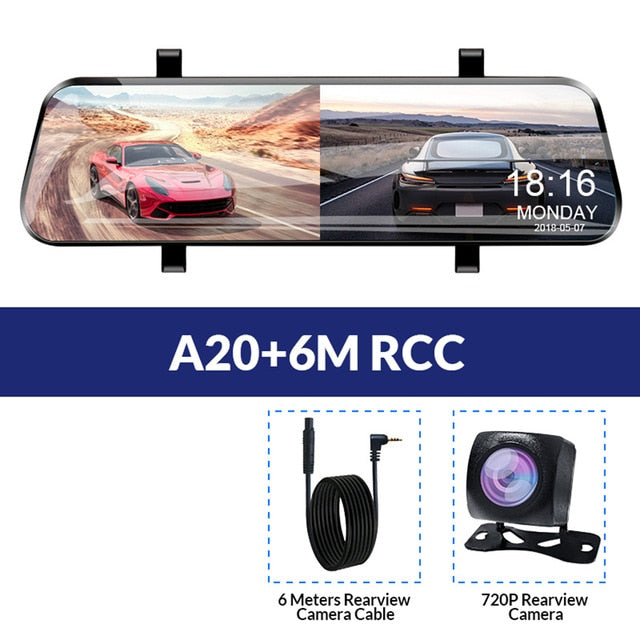 Car DVR 10 Inch Touch Screen Video Recorder Stream Mirror With Rear View Camera  night vision dash cam