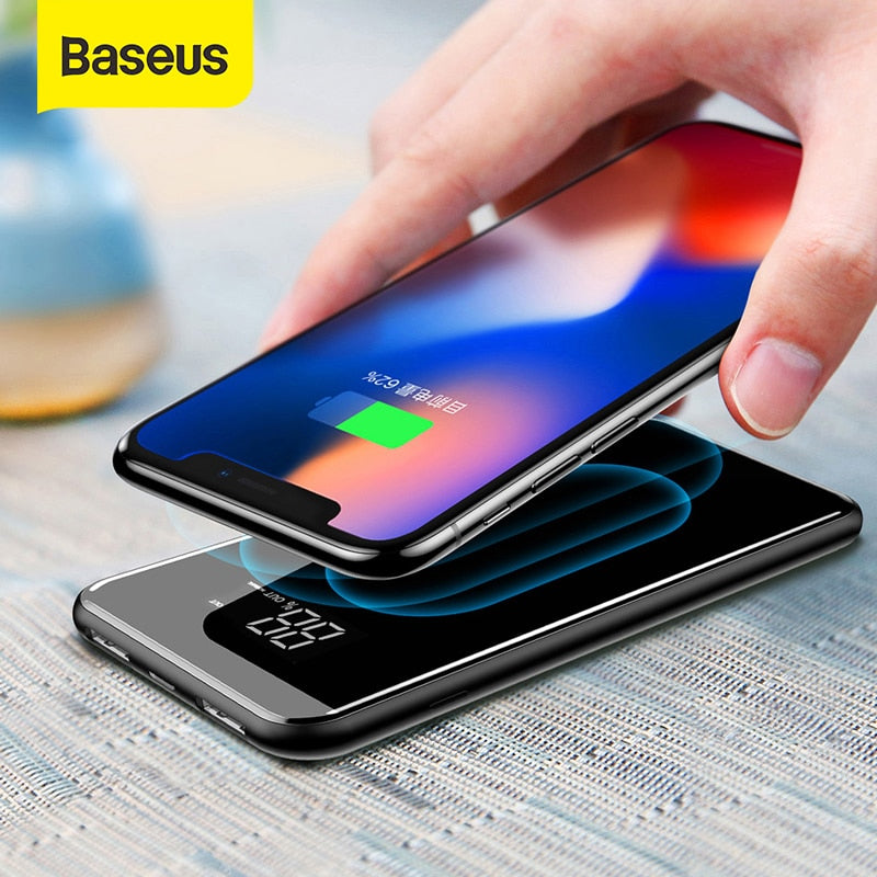 Baseus 8000mAh QI Wireless Charger Power Bank Dual USB Wireless Charging Battery Pack Powerbank Portable External Phone Charger
