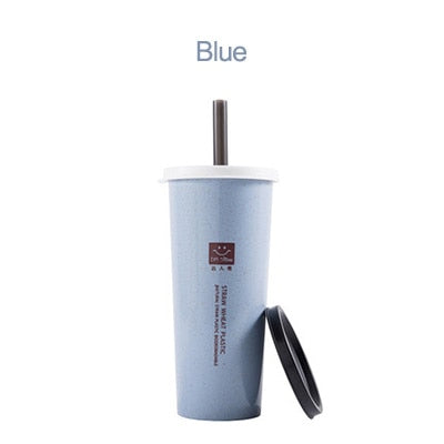 Eco friendly wheat straw Water Cup Portable with double lid