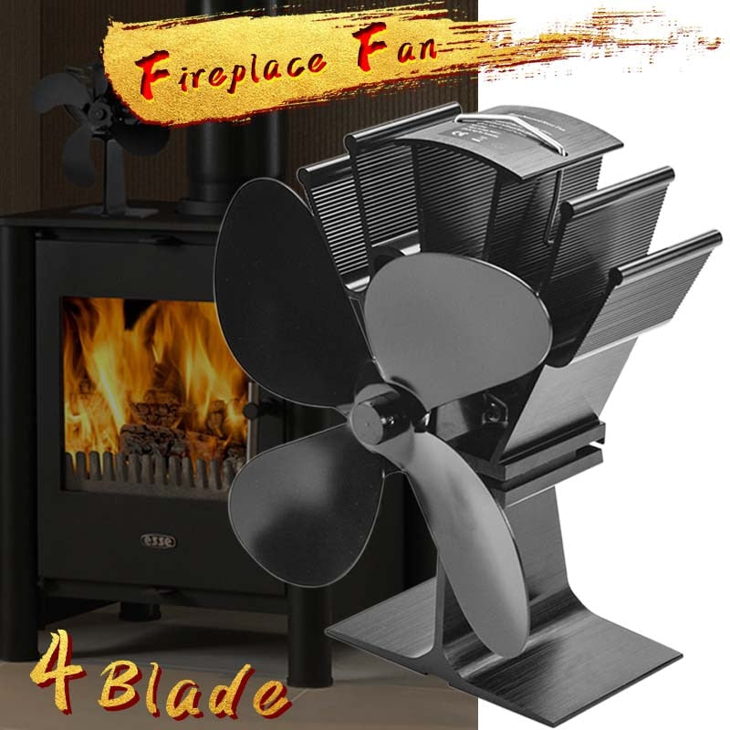Black Fireplace 4 Blade Heat Powered Stove Fan Eco Friendly Quiet Fan Home Efficient Heat Distribution