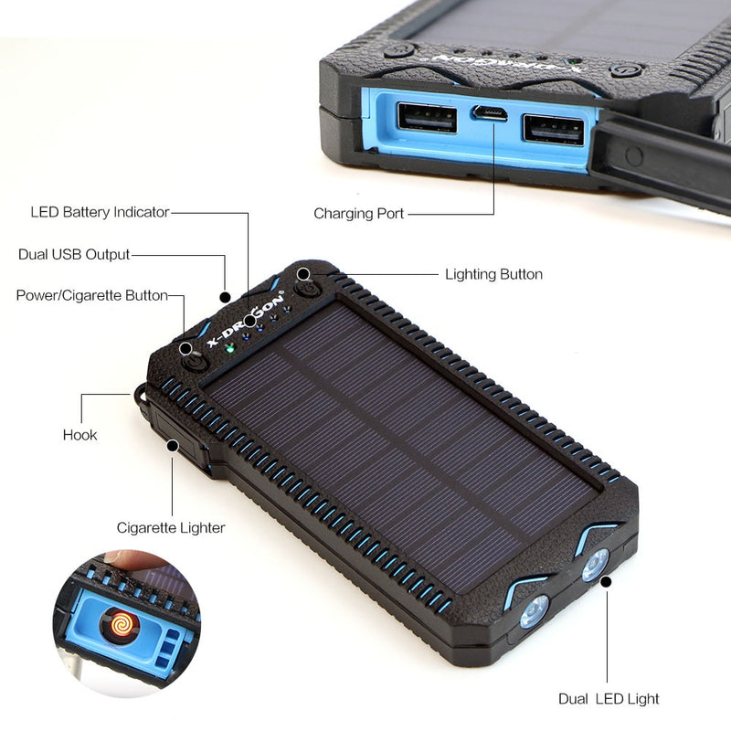 ALLPOWERS 15000mAh Power Bank Waterproof Solar Power Bank Phone External Battery Charger for iPhone iPad Samsung Huawei Xiaomi Nokia Pixel
