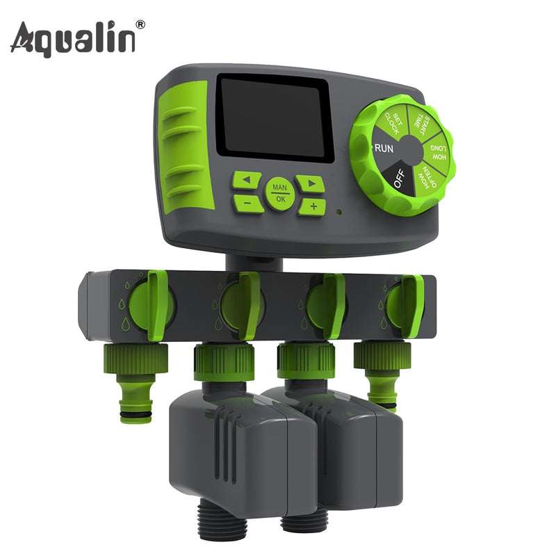 Automatic 4-Zone Irrigation System Watering Timer System with 2 Solenoid Valve