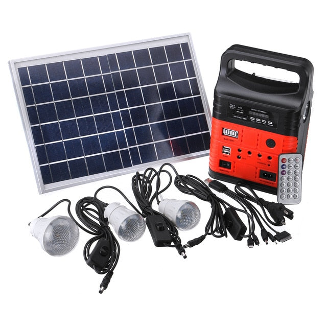 Portable Solar Generator Outdoor DC6W Solar Panel 6V-9Ah Lead-acid Battery Charging LED Lighting System