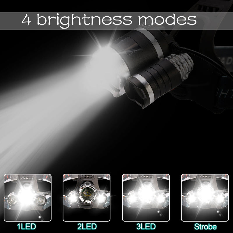 Most Powerful LED Headlight headlamp 5LED  18650 battery Best For Camping, fishing