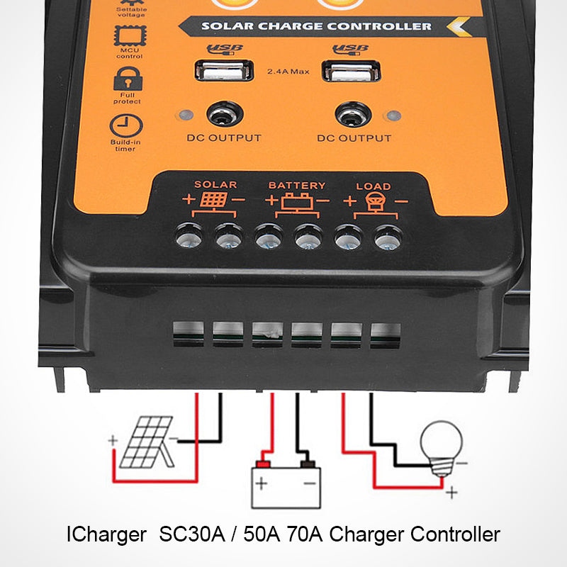 Solar Charge Controller 12V 24V 30 amps  Solar Controller Solar Panel Battery Regulator Dual USB 5V LCD Display