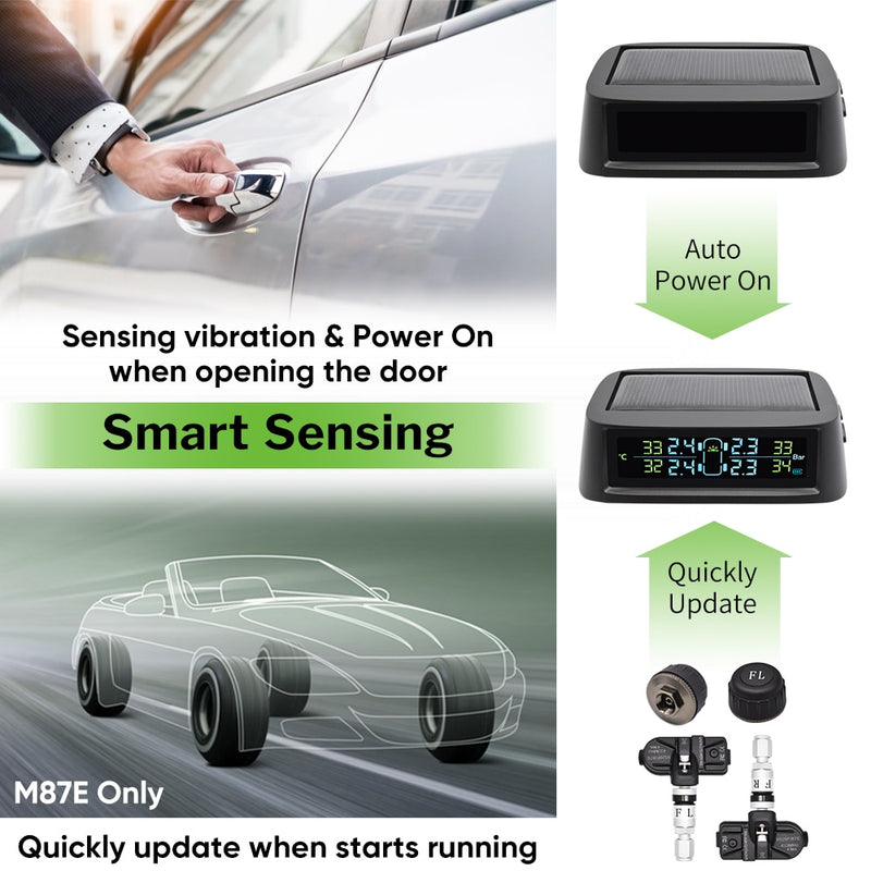 Solar TPMS Car Tire Pressure Monitoring System Alarm Auto Smart Control External Internal Wireless Tyre Pressure Sensor