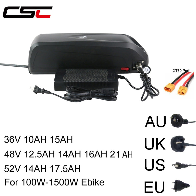 Electric bicycle 36V 48V 52V Battery 10AH 15AH 12.5AH 17.5AH 21AH 18650 SANYO Samsung Cell Lithium USB for 500-1500W Ebike kit