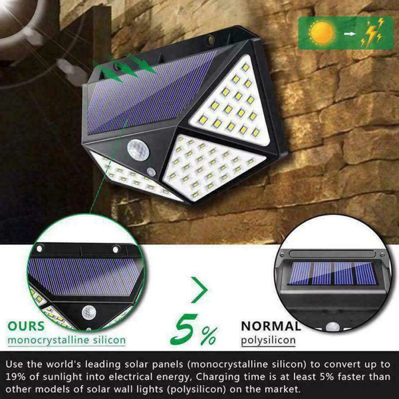 High Efficient Solar Power Light PIR Motion Sensor 100 LED Waterproof 1/2/4 Pcs