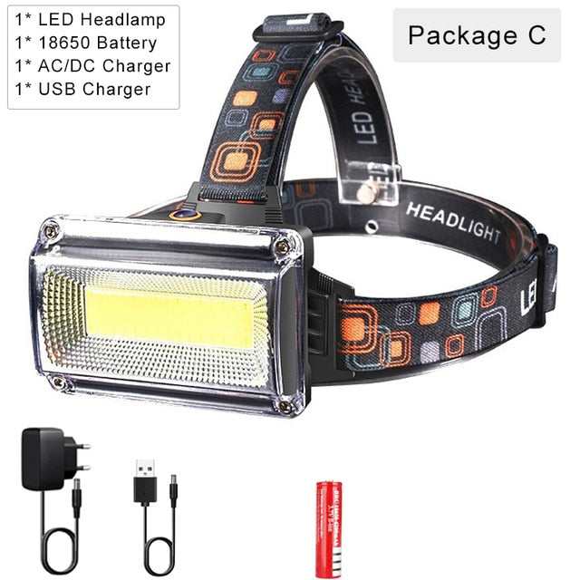 8000LM High Power COB LED Headlight Waterproof Head light USB Rechargeable Headlamp Use 18650 Battery Head Torch Head Flashlight