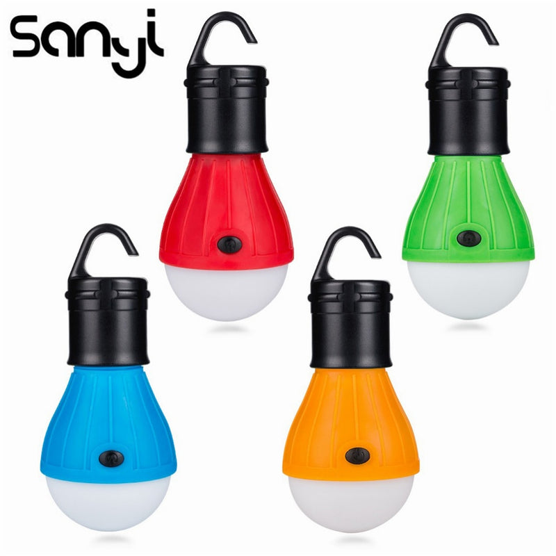 Mini Portable LED Bulb Emergency Lamp Waterproof Hanging Hook Flashlight Camping Light Use 3*AAA