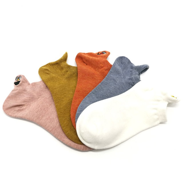 5 Pairs/Pack Embroidered Expression Women Socks Happy Fashion Ankle Funny Socks Women Cotton Summer Candy Color