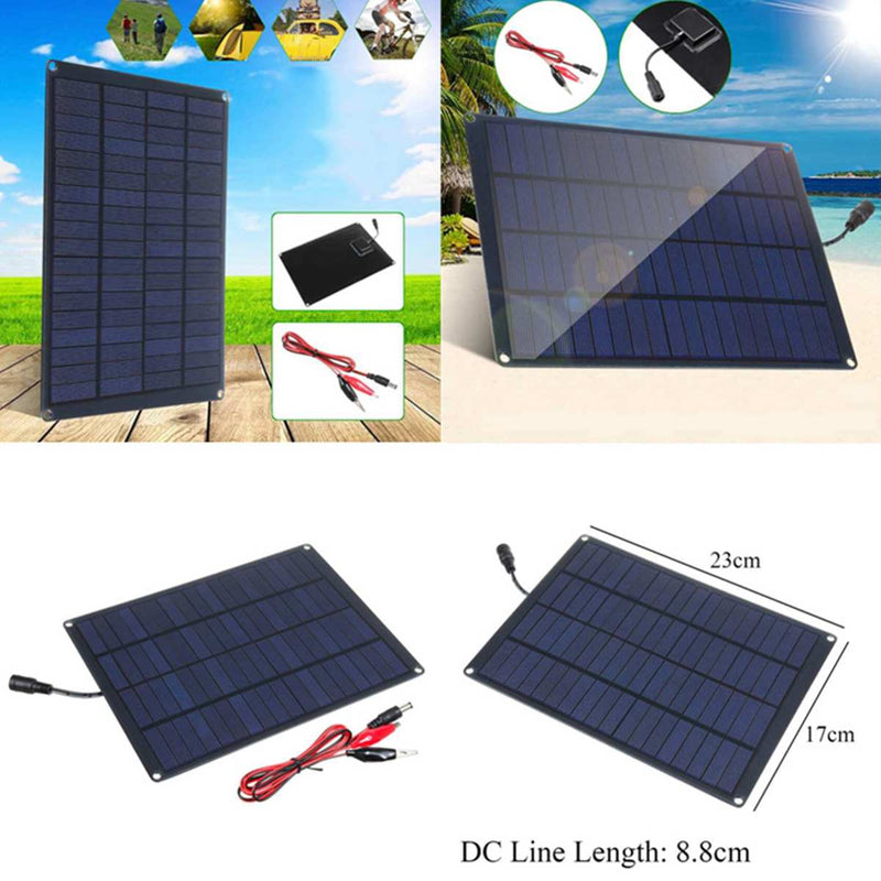 20W 12V 18V Solar Panel with battery Clip+10/20/30/50A Solar Car Charger Controller Solar Cells for Outdoor Camping Hiking