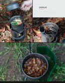 Set 7 Pieces Outdoor Cookware Camping Fishing  Hiking Picnic Cooking  Alcohol Burner Pot Bowl Windshield