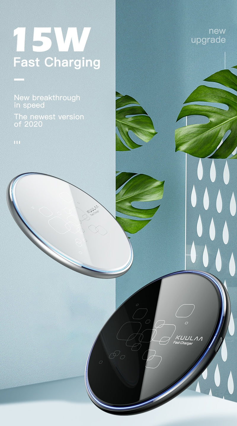 15W Qi Wireless Charger For Xiaomi Mi 9 Pro Mirror Wireless Charging Pad Fast Charger For iPhone 11 X XS Max XR 8 Plus