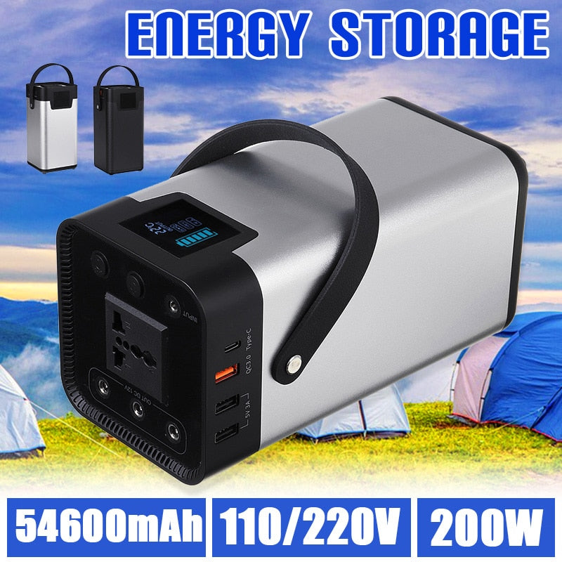 Power Bank 54000mAh External Battery AC DC USB Type-C Multi-output Portable Generator for TV Fan Car Refrigerator Laptop etc