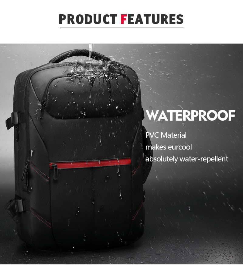 Men Travel Backpack Expandable Large Capacity USB Charging 15.6 inch Laptop Backpack Waterproof