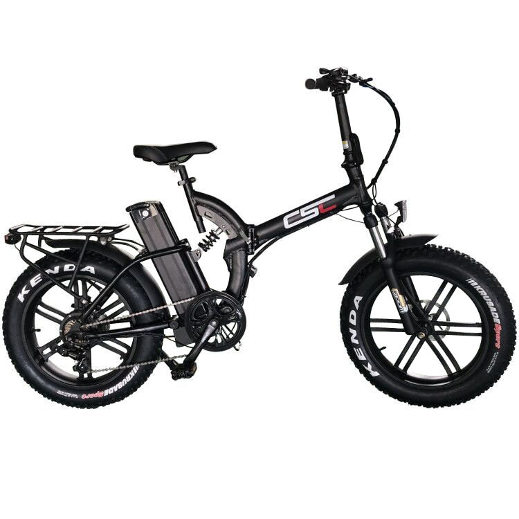 "CSC Snow 20"" 4.0 tire 48V 500W electric bike fat mountain folding Ebike 48V 15.6AH lithium battery 2A Charger"