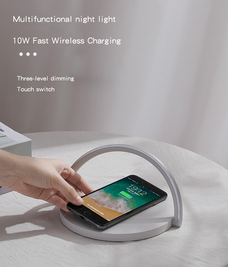 Fast Wireless Charger Table Lamp for iPhone 8Plus X XR 8 11 Pro XS Max Samsung S10 S9 7 S20 Note10 9 Charging night light Pad