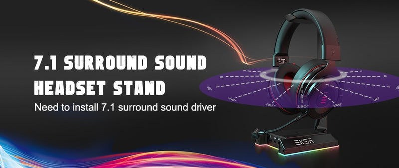 EKSA W1 Gaming Headset Stand 7.1Virtual Surround USB/ 3.5mm Ports RGB Headphones Holder for Gamer Gaming PC Accessories Desk
