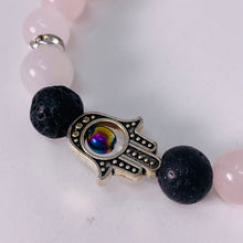 Load image into Gallery viewer, Bracelet - Rose Quartz & Lava Bead & Hamsa charm - 8mm beads