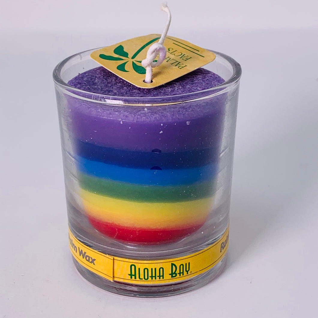 Rainbow Votive Candle in Glass Jar