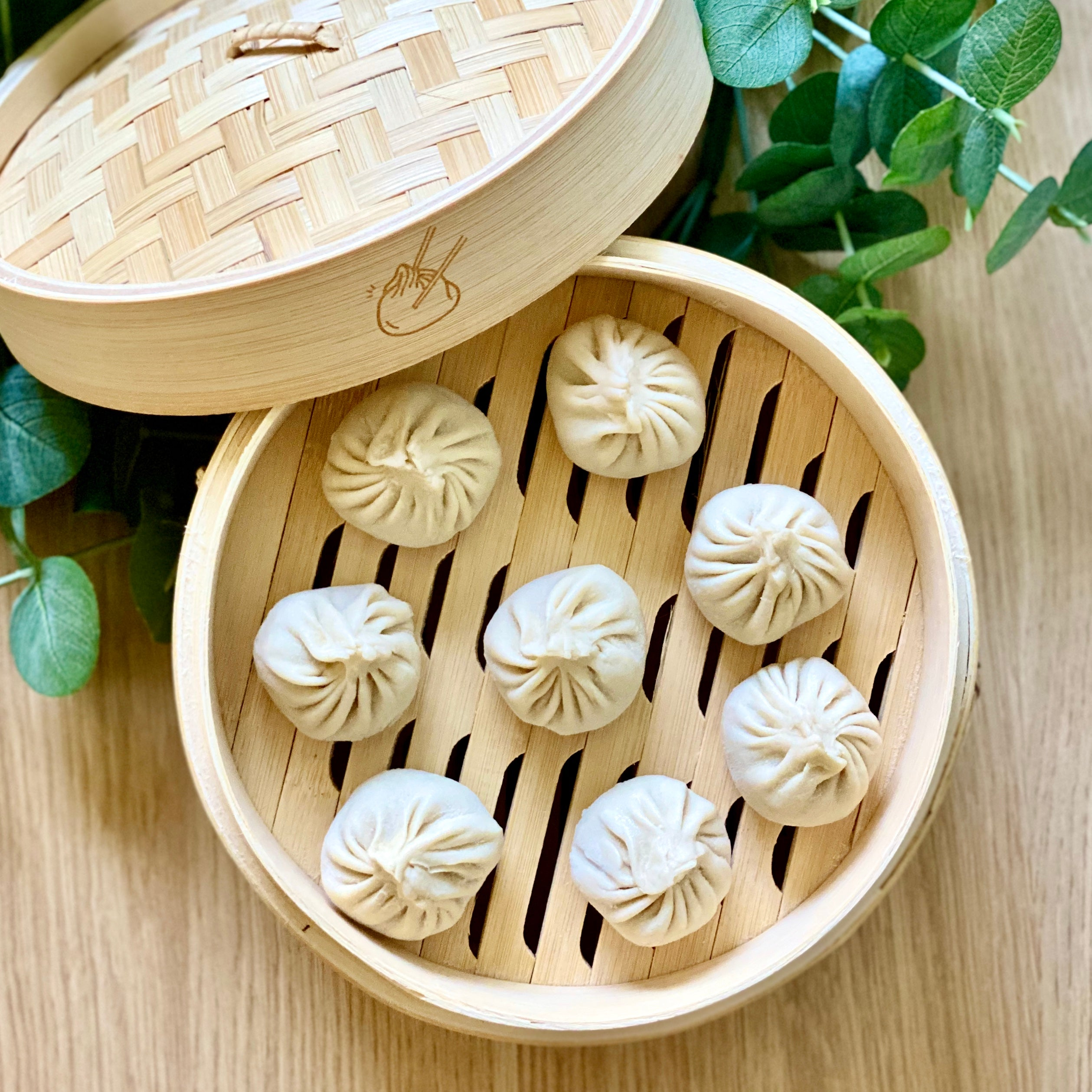 "8"" 2-layers bamboo steamer (with Logo)"
