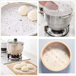 Load image into Gallery viewer, (25pcs) 9-inch Perforated Bamboo Steamer Liners, Non-stick Steamer Mat