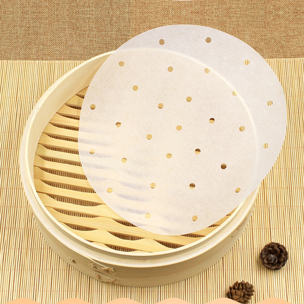 (25pcs) 9-inch Perforated Bamboo Steamer Liners, Non-stick Steamer Mat