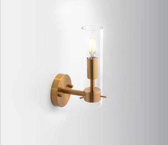 Decorative Brass Wall Light with Clear Glass Shade - Perfect for a Mirror Light!