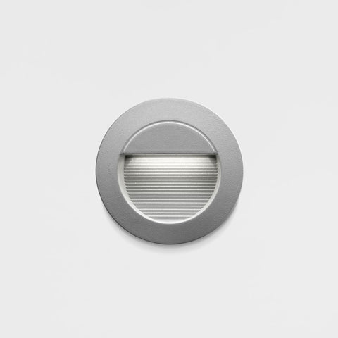 240V Recessed Exterior Step Light.  Silver Finish.