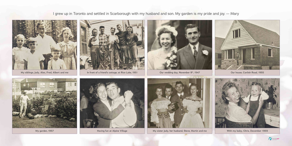 A collage full of black and white photos with a cherry blossom background