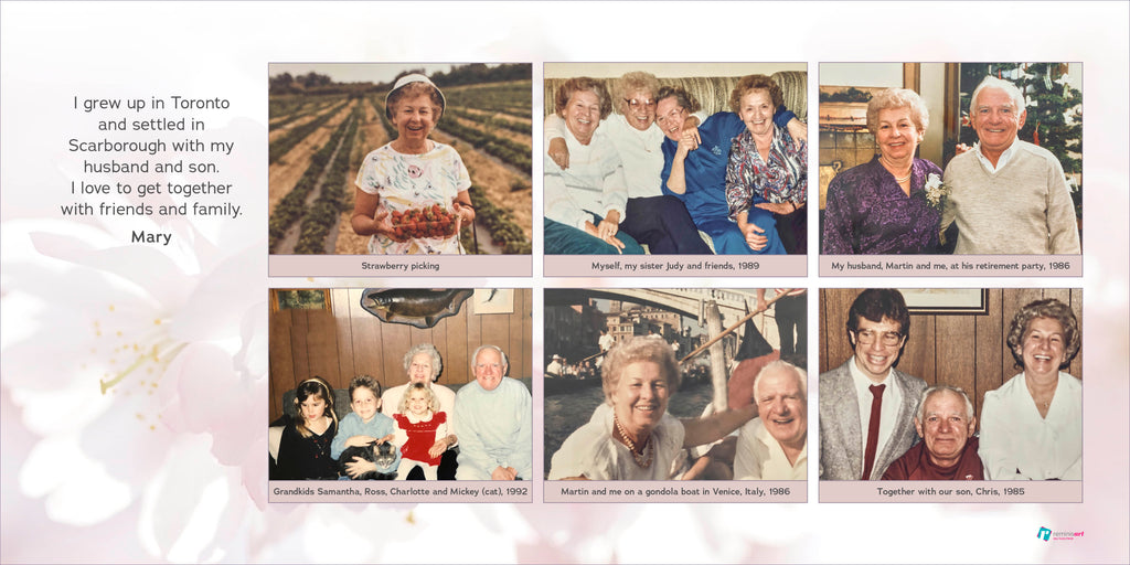 Horizontal collage of a senior woman full of joyful pictures