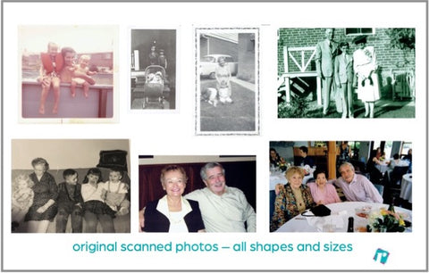 Vintage photos of a family at various ages.
