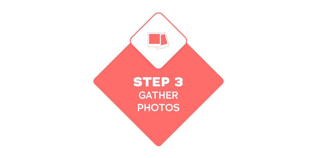 Step 3 - Gather photos to create gift for mom, dad or grandparent living in a nursing home, retirement living or assisted living or memory care.  Images of favourite people and special places lovingly showcased in a reminisart will spark conversations.
