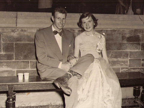 Black and white photo of young couple at prom