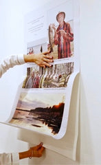 Close up image of a collage being unrolled