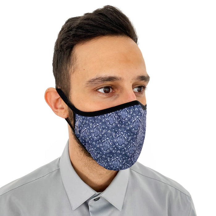Blue Damascus Print Face Mask