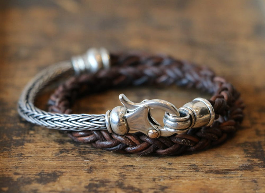 LEATHER & MIXED METAL BRACELET