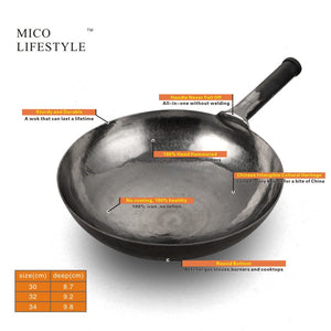Mico Lifestyle® Master Hand Hammered Iron Stir Fry Woks(Round Bottom) - Mico Lifestyle
