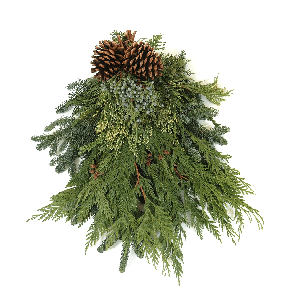 Evergreen Swag with Pinecones